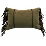 image for Thistle Green Chenille Leather Trim Pillow 12x18