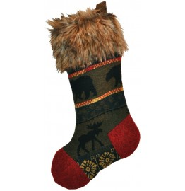 image for McWoods Wool Blend & Faux Coyote Fur Christmas Stocking