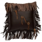 image for Horn Button Accent Brown Leather Throw Pillow 16 x 16