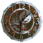 image for Midnight Moon & Pine Trees Steel Wall Clock 12 inch