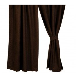 image for Dark Brown Suede Drapery Set 84 long