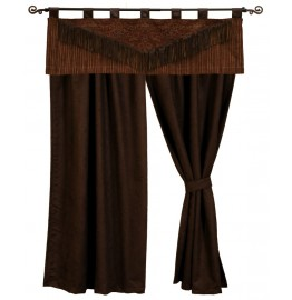image for Milady Valance and Chocolate Suede Drapery Set 84 long