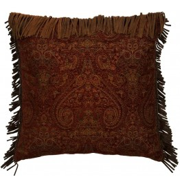 image for Milady Leather Fringed Eurosham Pillow Cover 26 x 26