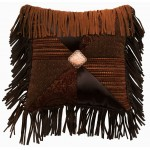 image for Milady Patch Leather Fringed Throw Pillow 16 x 16