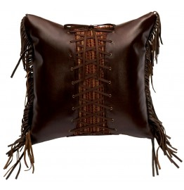 image for Milady Laced & Leather Fringed Throw Pillow 16 x 16