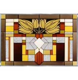 image for Santa Fe Mission Style Horizontal Art Glass Panel 20.5 x 14