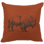 image for Rust Color Paprika Linen Buffalo Image Throw Pillow 16x16