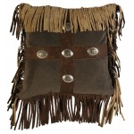 image for Raven Suede & Leather Throw Pillow 16 x 16