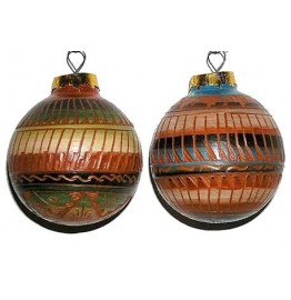 image for Z SOLD OUT THIS YEAR Etched Red Clay Navajo Pottery Southwest Christmas Ornament