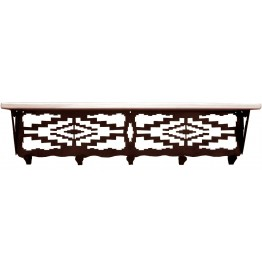 image for Navajo Geometric Southwest 34 inch Wall Shelf (hooks avail)