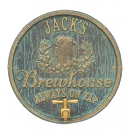 image for Bronze Verdigris Oak Barrel Beer Pub Plaque Personalized