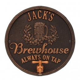 image for Oil Rubbed Bronze Oak Barrel Beer Pub Plaque Personalized