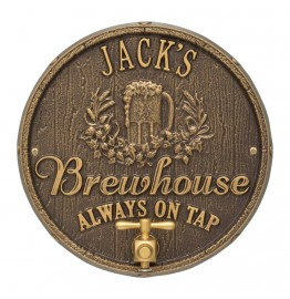 image for Dark Bronze & Gold Oak Barrel Beer Pub Plaque Personalized