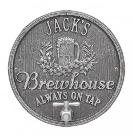 image for Pewter & Silver Oak Barrel Beer Pub Plaque Personalized