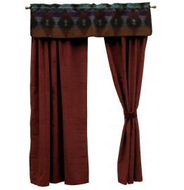 image for Painted Desert Valance & Wine Micro-Chenille Drapery Set 84 Long