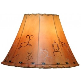image for Southwest Petroglyph Hand Painted Leather Lampshades