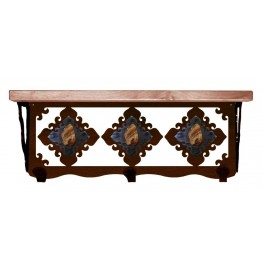 image for Brown Jasper & Burnished Steel 20 inch Wall Shelf (hooks avail)