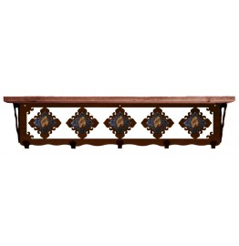 image for Brown Jasper & Burnished Steel 34 inch Wall Shelf (hooks avail)