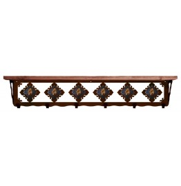 image for Brown Jasper & Burnished Steel 42 inch Wall Shelf (hooks avail)