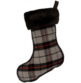 image for Ponderosa Plaid Wool Blend & Faux Black Sable Fur Christmas Stocking