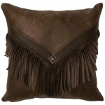 image for Silt Faux Leather & Leather Fringed Throw Pillow 16 x 16