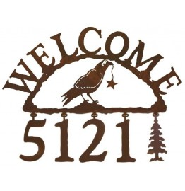 image for Raven Crow Bird & Star Western Address Sign