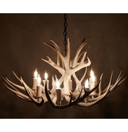 image for Genuine Mule Deer Antler Chandelier 8 Light Sun Bleach Finish 34 X 20