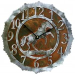 image for Rearing Horse Western Steel Wall Clock 12 inch