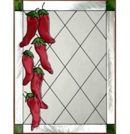 image for Red Chili Peppers Framed Art Glass Panel 11 x 14