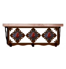 image for Red Jasper & Burnished Steel 20 inch Wall Shelf (hooks avail)