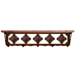 image for Red Jasper & Burnished Steel 34 inch Wall Shelf (hooks avail)