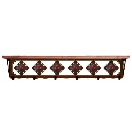 image for Red Jasper & Burnished Steel 42 inch Wall Shelf (hooks avail)