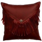 image for Dark Red Leather Throw Pillow 16 x 16