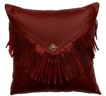 image for Red Leather Throw Pillow 16 x 16