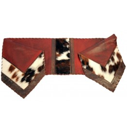 image for Red Leather & Cowhide Leather Table Runner 12 x 54
