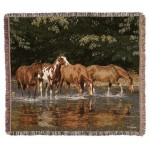 image for Reflections Horses Tapestry Throw Blanket