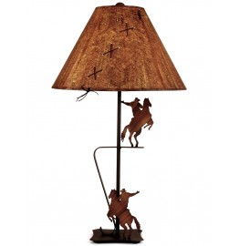 image for Rodeo Cowboy Icon Iron Table Lamp & Shade 31""