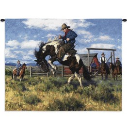 image for Rough Start Western Cowboy Wall Tapesty & Rod 34 x 26