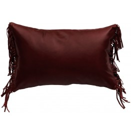 image for Fringed Ruby Red Leather Throw Pillow 14 x 22