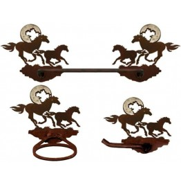 image for Horses Running Towel Bar Set 3-piece Burnished