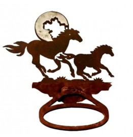 image for Running Horses Towel Ring Burnished