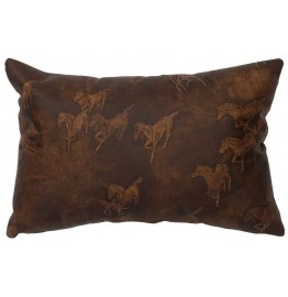 image for Running Horses Embossed Leather Throw Pillow 12 x 18