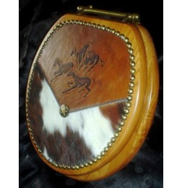image for Running Horses Western Leather Toilet Seat