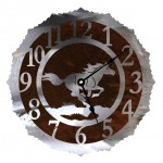 image for Horse Running Wild Western Steel Wall Clock 12 inch