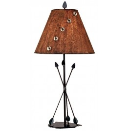 image for Three Arrows Southwest Metal Table Lamp & Wood Shade 31""