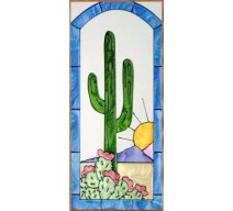 image for Southwest Cactus Scene Art Glass Panel 9 x 20