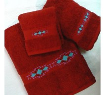 image for Taos Southwest Border 3-Pc Bath Towel Set Pomegranate