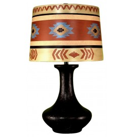 image for Dark Brown Textured Genie Bottle Table Lamp & Southwestern Shade 26.5""