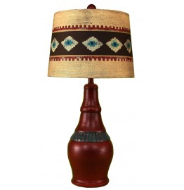 image for Rio Red & Jade Ribbed Table Lamp & Southwestern Shade 29.5""