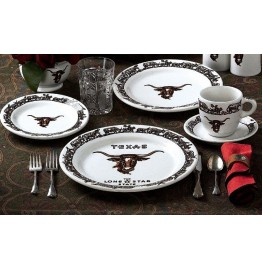 image for Special Texas Edition Longhorn Dinnerware 5-Pc Place Setting
